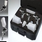 Schwarzer ProfiKoffer mit 3 HVLP Pistolen (0.8mm, 1.4mm & 1.7mm)+ Druckminderer